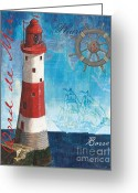 Grey Painting Greeting Cards - Bord de Mer Greeting Card by Debbie DeWitt