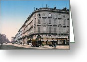 South France Greeting Cards - Bordeaux - France - Rue Chapeau Rouge from the Palace Richelieu Greeting Card by International  Images