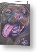 Panting Dog Greeting Cards - Bordeaux Mastiff Portrait Greeting Card by Jamey Balester