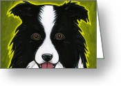 Dog Prints Greeting Cards - Border Collie Greeting Card by Leanne Wilkes