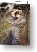 Scarf Greeting Cards - Boreas Greeting Card by John William Waterhouse