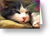 David Kyte Greeting Cards - Bored Cat Greeting Card by David Kyte