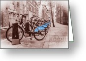 Cycles Digital Art Greeting Cards - Boris Bikes Greeting Card by Donald Davis