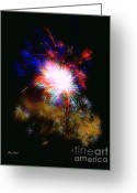 Pyrotechnics Digital Art Greeting Cards - Born on the 4th of July Greeting Card by Dale   Ford