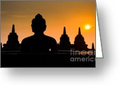 Borobudur Greeting Cards - Borobudur temple at sunrise Java Indonesia Greeting Card by Konstantin Kalishko