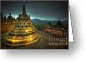 Buddhist Temple Greeting Cards - Borobudur Temple Central Java Greeting Card by Charuhas Images
