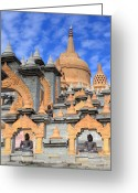 Borobudur Greeting Cards - Borobudur temple in Roi-et Greeting Card by Thomas  von Aesch
