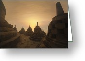 Borobudur Greeting Cards - Borobudur Temple, Java, Indonesia Greeting Card by Bjorn Holland