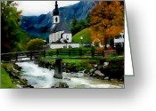 Slavic Painting Greeting Cards - Bosnian Country Church Greeting Card by Jann Paxton
