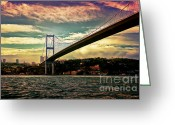 Marmara Greeting Cards - Bosphorous bridge Greeting Card by Nilay Tailor