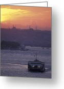 Minaret Greeting Cards - Bosporus At Sunset Facing The Golden Greeting Card by Richard Nowitz