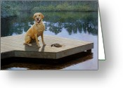 Dogs Painting Greeting Cards - Boss Greeting Card by Doug Strickland