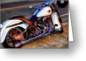 Cycles Digital Art Greeting Cards - Boss Hog . Harley-Davidson .  7D12757 Greeting Card by Wingsdomain Art and Photography