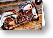 Made In The Usa Digital Art Greeting Cards - Boss Hog . Harley-Davidson .  Painterly . 7D12757 Greeting Card by Wingsdomain Art and Photography