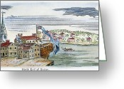 Charlestown Greeting Cards - BOSTON, 1770s Greeting Card by Granger