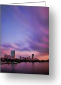 River. Clouds Greeting Cards - Boston Afterglow Greeting Card by Rick Berk