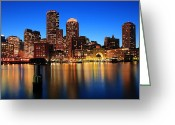 Twilight Greeting Cards - Boston Aglow Greeting Card by Rick Berk
