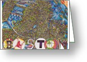 Red Sox Drawings Greeting Cards - Boston Art Map Greeting Card by Jonathan