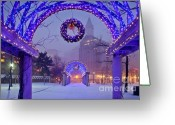 Snow Storm Greeting Cards - Boston Blue Christmas Greeting Card by Susan Cole Kelly