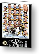 Boston Greeting Cards - Boston Bruins Stanley Cup Champions Greeting Card by Dave Olsen