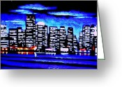 Skylines Painting Greeting Cards - Boston by Black Light Greeting Card by Thomas Kolendra