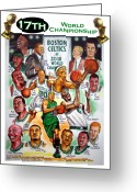 Nba Greeting Cards - Boston Celtics World Championship Newspaper Poster Greeting Card by Dave Olsen