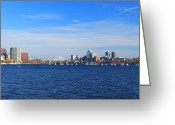 Mit Greeting Cards - Boston Charles River Panorama Greeting Card by John Burk