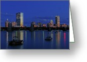 Photography Greeting Cards - Boston City Lights Greeting Card by Juergen Roth
