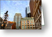 Street Light Greeting Cards - Boston downtown Greeting Card by Elena Elisseeva