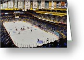 New York Rangers Painting Greeting Cards - Boston Garden Ice Greeting Card by T Kolendera