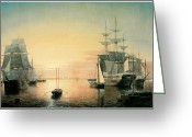 Sailing Ships Greeting Cards - Boston Harbor Greeting Card by Fitz Hugh Lane