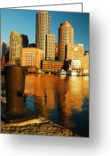 Boston Massachusetts Skyline Skyscrapers Building Office Towers Structures Water Harbor Harbour Reflect Reflection Reflecting Sea Bay Rowes Wharf Tall  Waterfront Day Daytime City Urban New England Greeting Cards - Boston Harbor Greeting Card by James Kirkikis