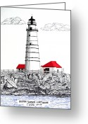 Historic Lighthouse Drawings Greeting Cards - Boston Harbor Lighthouse Dwg Greeting Card by Frederic Kohli