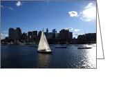 Sailboat Greeting Cards - Boston Harbor Greeting Card by Olivier Le Queinec