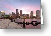 Dusk Greeting Cards - Boston Harbor Greeting Card by Photo by Jim Boud