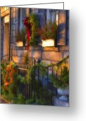 Wreaths Greeting Cards - Boston Holiday Doorstep Greeting Card by Joann Vitali