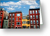 Old Street Greeting Cards - Boston houses Greeting Card by Elena Elisseeva