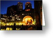 New England Digital Art Greeting Cards - Boston Lights Greeting Card by William Carroll
