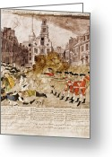 Paul Revere Greeting Cards - Boston Massacre, 1770 Greeting Card by Omikron