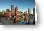 Reflection Greeting Cards - Boston Morning Skyline Greeting Card by Sebastian Schlueter (sibbiblue)