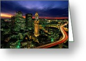 City Lights And Lighting Greeting Cards - Boston Night Aerial With Time Exposure Greeting Card by Joel Sartore