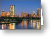 Hatch Greeting Cards - Boston Night Skyline II Greeting Card by Clarence Holmes