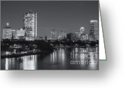 Hatch Greeting Cards - Boston Night Skyline V Greeting Card by Clarence Holmes