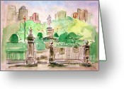 Photographs Painting Greeting Cards - Boston Public Gardens Greeting Card by Julie Lueders