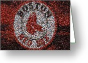 Mlb Mixed Media Greeting Cards - Boston Red Sox Bottle Cap Mosaic Greeting Card by Paul Van Scott