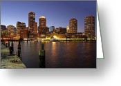 Twilight Greeting Cards - Boston Skyline and Fan Pier Greeting Card by Juergen Roth