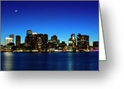 Illuminated Greeting Cards - Boston Skyline Greeting Card by By Eric Lorentzen-Newberg