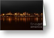 Charles River Digital Art Greeting Cards - Boston Skyline Greeting Card by Frank Garciarubio