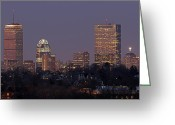 Hill Photographs Greeting Cards - Boston Skyline from Jamaica Plain Greeting Card by Juergen Roth