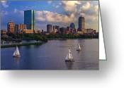 Sailboats Greeting Cards - Boston Skyline Greeting Card by Rick Berk